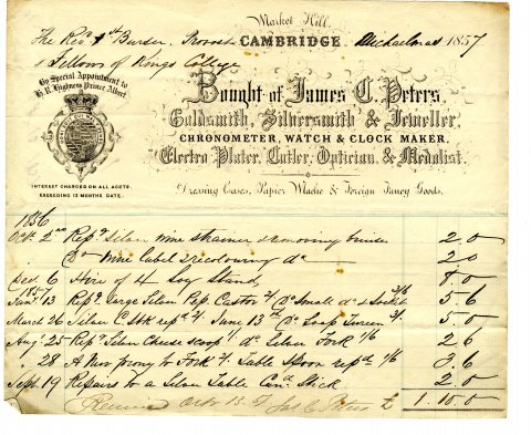 Receipt from James C. Peters in 1857 for repairs to a candlestick, a wine strainer and a cheese scoop. Peters also added a new prong to a fork.