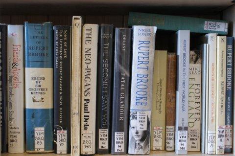 Shelf of books relating to Rupert Brooke