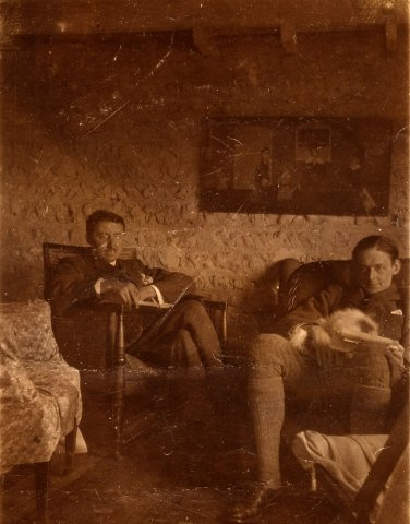 E.M. Forster (left) and T.S. Eliot (right) probably at Virginia Woolf's home Monk's House, c.1922.  (EMF/27/349)