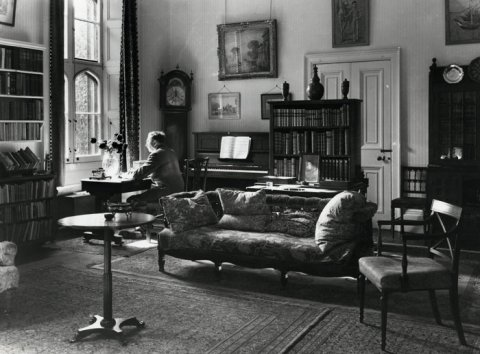 EM Forster in his College sitting room (taken by Edward Leigh, 1968; EMF/27/861)