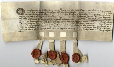 Part of the conveyance of lands in Grantchester, Cottenham and others in Cambridge from the executors of Henry Somer to King's College.  20 March 1452. (GRA/11)