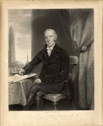 Charles Simeon, former Dean, engraved by William Say after a drawing by John Jackson, 1822 (KCAC/1/4/Simeon/1)