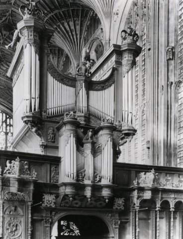 Photograph of the organ pipes and part of the screen, taken by Edward Leigh for Country Life. (KCC/614)