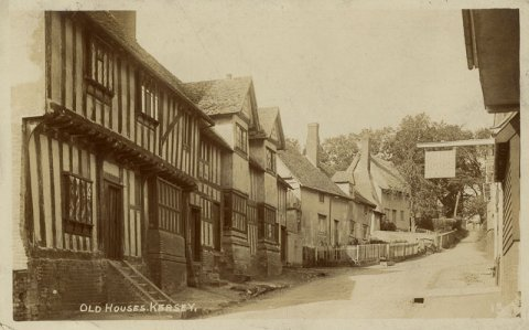 'Old Houses, Kersey', postcard sent to the First Bursar, 1910. (KCE/298)