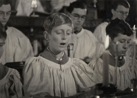 Still of chorister singing, taken from 'Christmas Under Fire', November 1940. (KCPH/2/16/1)