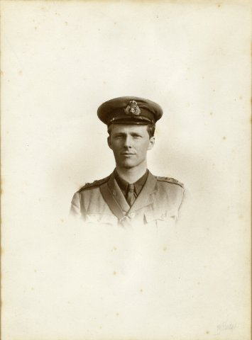 Rupert Brooke in uniform, at Blandford, Dorset. 1914. Print by W. Hazel of Bournemouth. Archive Centre, King's College, Cambridge. RCB/Ph/262