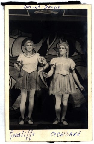 The pantomime Dossing Dulcie, with Michael Goodliffe (left) as an Immoral Fairy and Brodie Cochrane (right) as a Moral Fairy