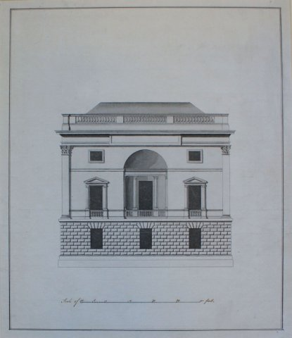 Elevation of the east front of the Hall. Robert Adam, 1787 (WKB/43/8)