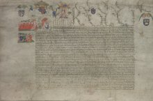 Endowment grant by Henry VI of lands and privileges to benefit his College of St. Nicholas and Our Lady (otherwise known as King's College) at Cambridge, 1446. Photo by DIAMM. Archive Centre, King's College, Cambridge.  KC/18