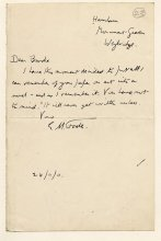 Letter from E.M. Forster to Rupert Brooke, dated 24 November 1911. Archive Centre, King's College, Cambridge. RCB/L/1/23