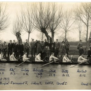 Crew of King's College's 1st boat,  Lent 1923.  [KCAS/5/4/1]