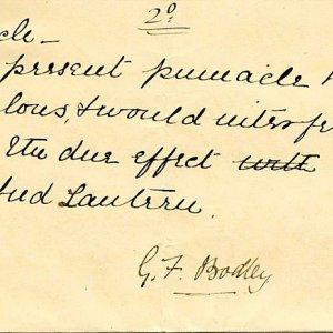 GF Bodley's ideas on the pinnacle in Hall. [c.1891]