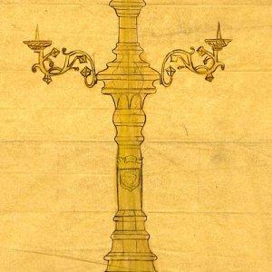 Design for a three-light freestanding candelabrum. [undated]