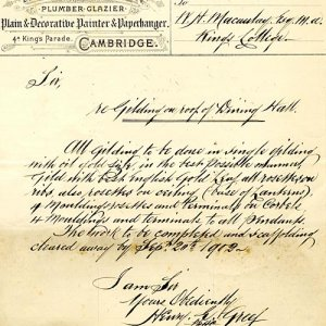 Invoice for gilding the Hall ceiling [1902]