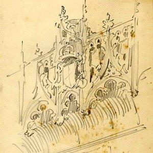 Sketch for an oriel window. [undated]