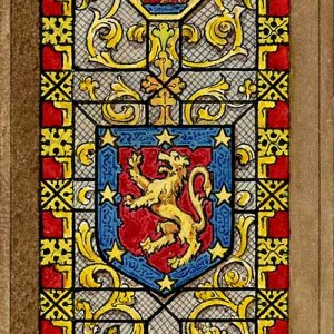 Design for heraldic glass in Hall by JP Hedgeland. [1829]