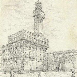 Palazzo Vecchio and Loggia dei Lanzi (16 April 1874)