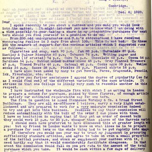 Letter about proposed canteen (1920)