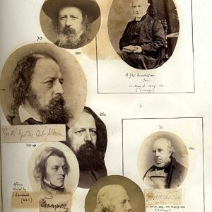 Photo album showing Alfred, Lord Tennyson