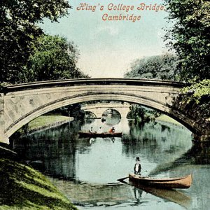 Tinted postcard of canoe on River Cam