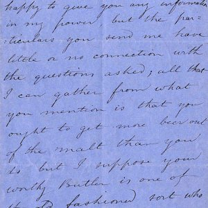 Letter to Brock about college brewing, 1854