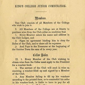Junior Combination cellar rules (1874)
