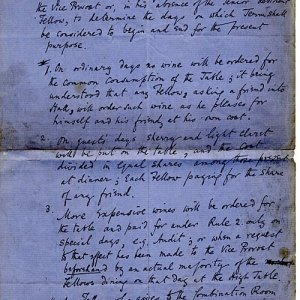 Rules for serving wine in Hall (c.1850-1910)