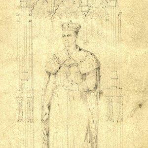 Sketch of Henry VI on a plinth by J Henning