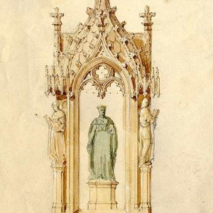 Watercolour of a fountain with Henry VI on it by J Henning