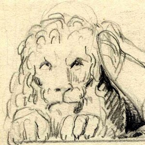 Henning's sketch of a lion at the feet of Henry VI