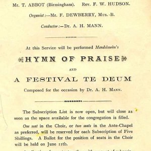 Subscription notice for Golden Jubilee Service (1887)