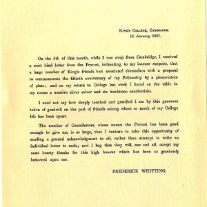 Whitting thanks the College for his anniversary gift (1907)