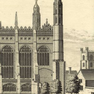 In this early 18th century drawing of the King's College front court, the gable end seen to the right of the tree is the west façade of the large room of the Lodge. (KCC/123, part)