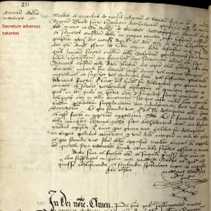 1571 decree against swimming. (KCAC/2/1/1/212, part)