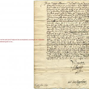 1586 letter from Burghley to the College on behalf of the Queen, concerning a royal privilege. (SAC/64)