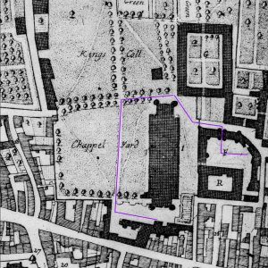 Loggan's 1688 map showing the roundabout access to the old Hall. (JS/4/7/loggan, part)