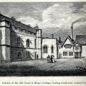 Old Court looking north - the Hall is the gabled building with the smoking chimney, and was entered through the quaint adjoining porch. (Willis and Clark, p 324)
