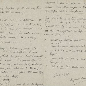 Recto of a letter from Rupert Brooke to James Strachey. 20 August 1905. Henry W. and Albert A. Berg Collection of English and American Literature, The New York Library, Astor, Lenox and Tilden Foundations.