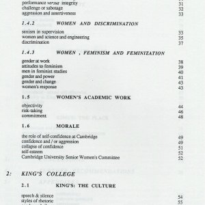 One page from the Table of Contents of Andrea Spurling's 1990 report. [KCAC/7/4/2]