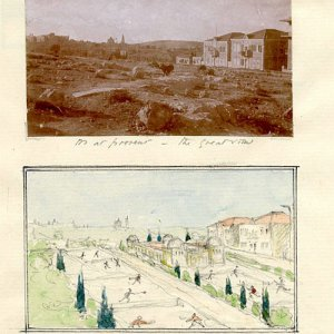 Ashbee's idea for gardens and a municipal park in Jerusalem. [c.1920]