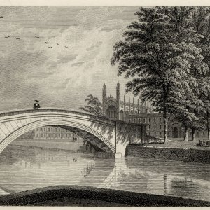King's College from the backs showing the new bridge, the Chapel, and Gibbs' building with the great window above the arch. (Cooper's Memorials, vol 1 p 215)