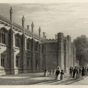 Wilkins' new Library and Provost's Lodge (on the left) with his new bridge in the background and a corner of Gibbs' building on the right. (Cooper's Memorials, the Library vol 1 p 209)