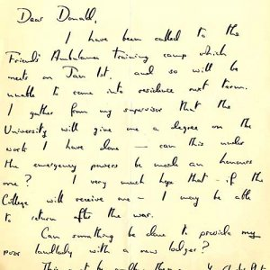 Letter from a student informing Tutor D. Beves that he had been called up for duty