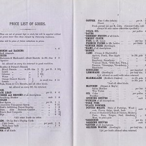Price list of canteen goods (1872)