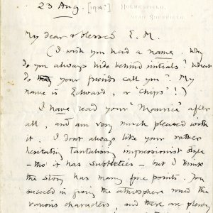 First page of a letter from Edward Carpenter to E.M. Forster, dated 23 August 1914 (EMF/Vol 8/24)