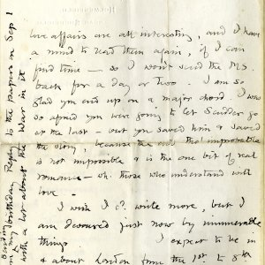 Second page of a letter from Edward Carpenter to E.M. Forster, dated 23 August 1914 (EMF/Vol 8/24)