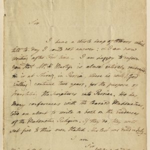 This letter from Simeon to an unnamed recipient reports on Martyn's full recovery; sadly, Martyn died seven months after it was written. (CS/1/Unknown1 1812-03-31)