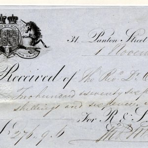 Receipt from 1851 for £275, 9s, 6d for plate for the Provost's Lodge. This is equivalent to £16, 123.55 in 2009.