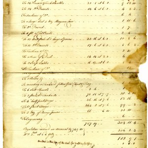 Receipt from 1740 for engraving, polishing and repairing silver plate. Items included within the bill are 6 salt shovels, 12 pint mugs and 24 knife and fork handles.