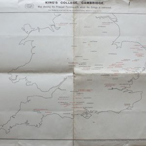 'Map shewing the principal parishes with which the College is connected', marked in red (Coll 39.3)